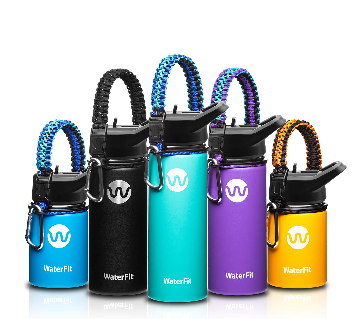 Double Wall Stainless Steel Leak Proof BPA Free Sports Wide Mouth Water Bottle WaterFit Vacuum Insulated Water Bottle 12oz 16oz 20oz -5 Colors with Paracord Handle Travel Straw Lid