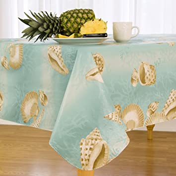 Elrene Home Fashions Vinyl Tablecloth With Polyester Flannel Backing  Seashell Border Easy Care Spillproof, 70u0026quot