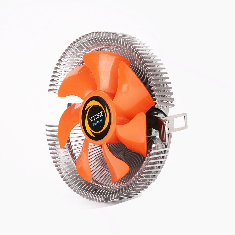 Semoic Dissipateur CPU dordinateur Personnel Radiateur de Ventilateur de Refroidissement pour Intel LGA775 1155 AMD AM2 AM3 754 Ventilateurs de Refroidissement Orange