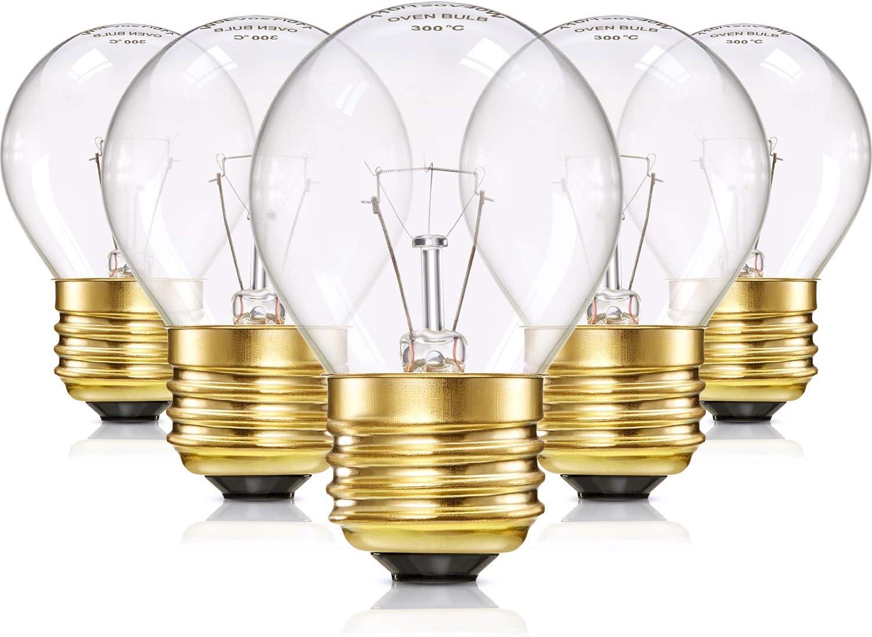 8 Packs Appliance Oven Refrigerator Bulbs G45 Shape Appliance Light Bulb Clear Glass Oven Bulbs for Household Using, High Temp, E27/ E26 Medium Brass Base, 40 Watt/ 110 V - 120 V, 400 Lumens