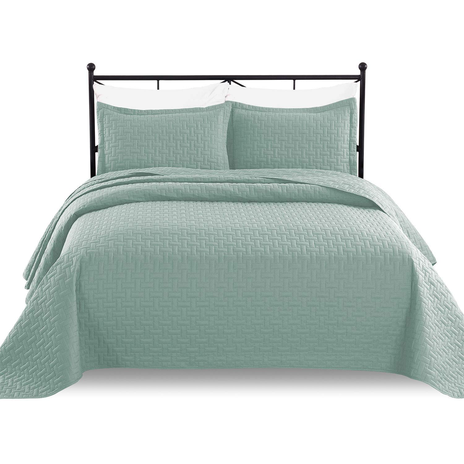 Luxe Bedding 3-piece Oversized Quilted Bedspread Coverlet Set (Full/Queen, Spa Blue)