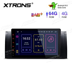 XTRONS 9 Inch Android 9.0 Car Stereo Radio Player Octa Core 4G RAM 64G ROM GPS Navigation Multi-Touch Screen Head Unit Supports Screen Mirroring Bluetooth 5.0 WiFi OBD2 DVR TPMS for BMW X5 E53
