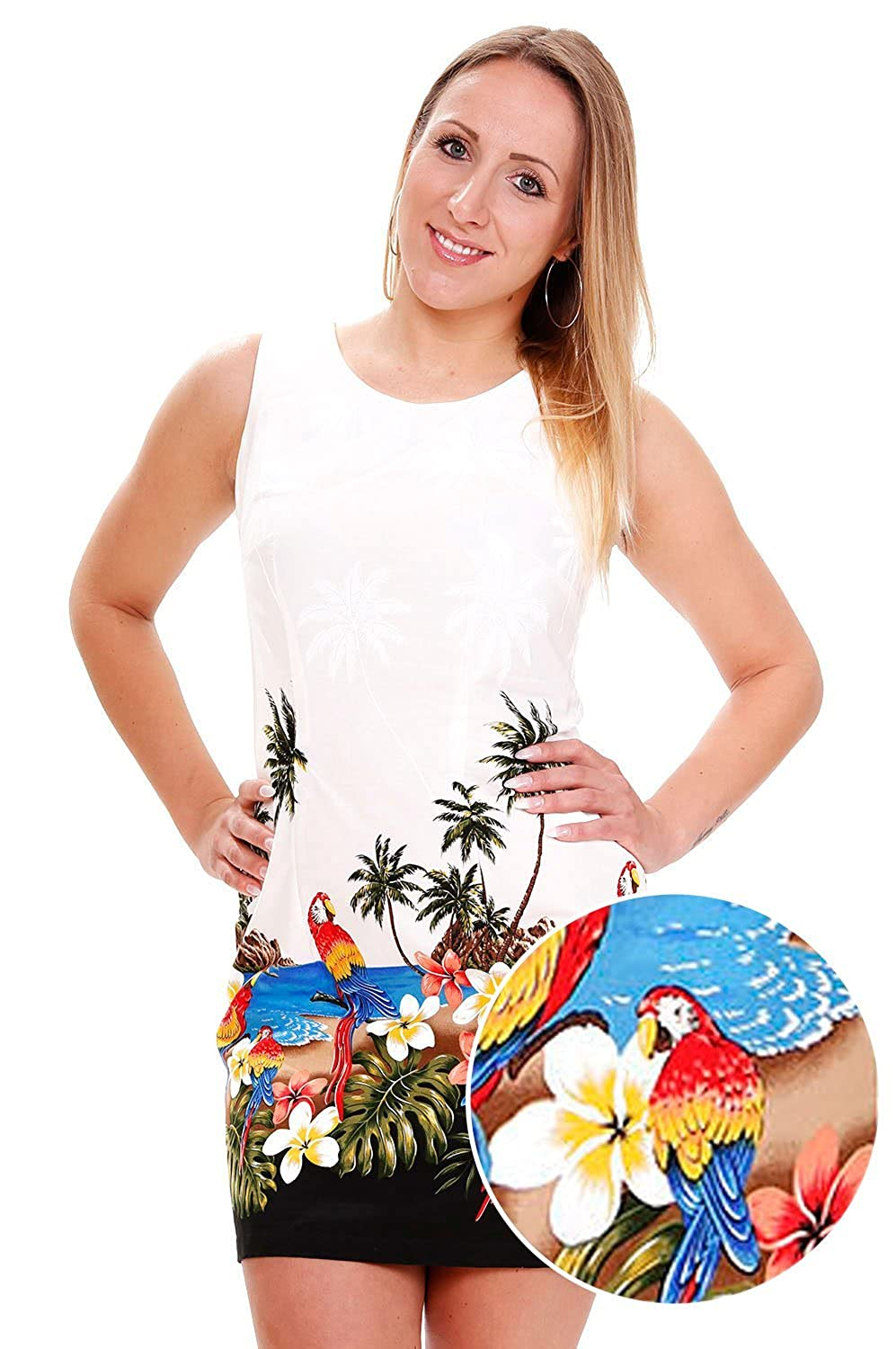 Pacific Legend | Original Hawaiikleid | Damen | S - XXL | Sommer | Hawaii-Print | Papageien | Weiß