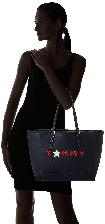 Navy Blue Honey Amazon Hilfiger bolsos Ew es y Tommy Zapatos Beach Bag Canvas tommy Star Womens Tote and qf7nvw