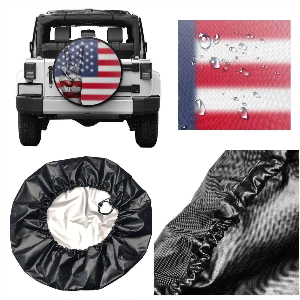 United States Flag Yay Potable Polyester Universal Spare Wheel Tire Cover Wheel Covers Jeep Trailer RV SUV Truck Camper Travel Trailer Accessories 16 in Vbnbvn Reserveradabdeckung