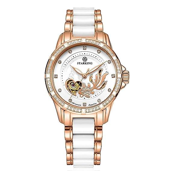 Starking cerámica relojes mujer Oro rosa pulsera automático al0231 para hombre acero inoxidable luminoso manos esqueleto