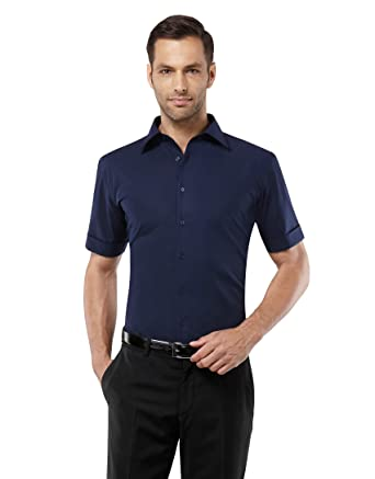 Vincenzo Boretti Herren-Hemd bügelfrei 100% Baumwolle kurz-arm Slim-fit  tailliert Uni-Farben - Männer Hemden für Anzug mit Krawatte Business oder  Freizeit  ... 10bafeeb18