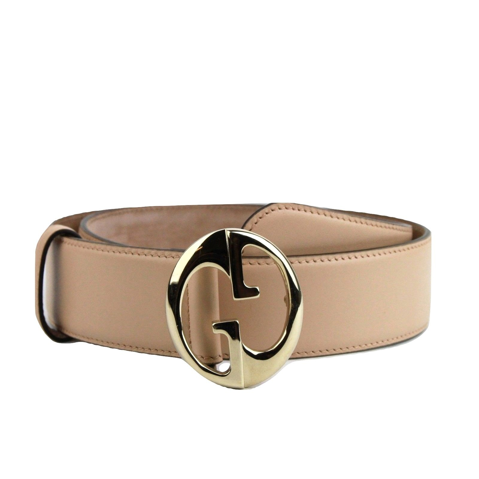 Gucci Women's Interlocking G Leather Belt with Gold Buckle 362728 5311 (80 / 32, Beige) by Gucci