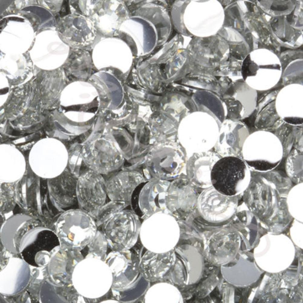 "100% Custom Made (4mm) 1500 Bulk Pieces of Mini Size ""Glue-On"" Flatback Embellishments for Decorating, Made of Acrylic Resin w/ Shiny Iridescent Crafting Gem Stone Rhinestone Crystal Style {Clear}"