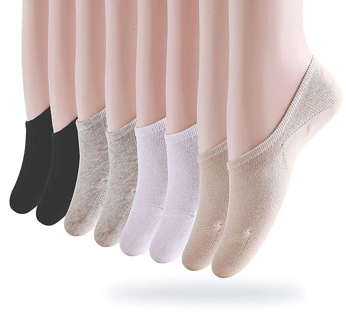 Okany Calcetines Invisibles Mujer De Algodón Calcetines Cortos Elástco Con Silicona Antideslizante (Pack de 8