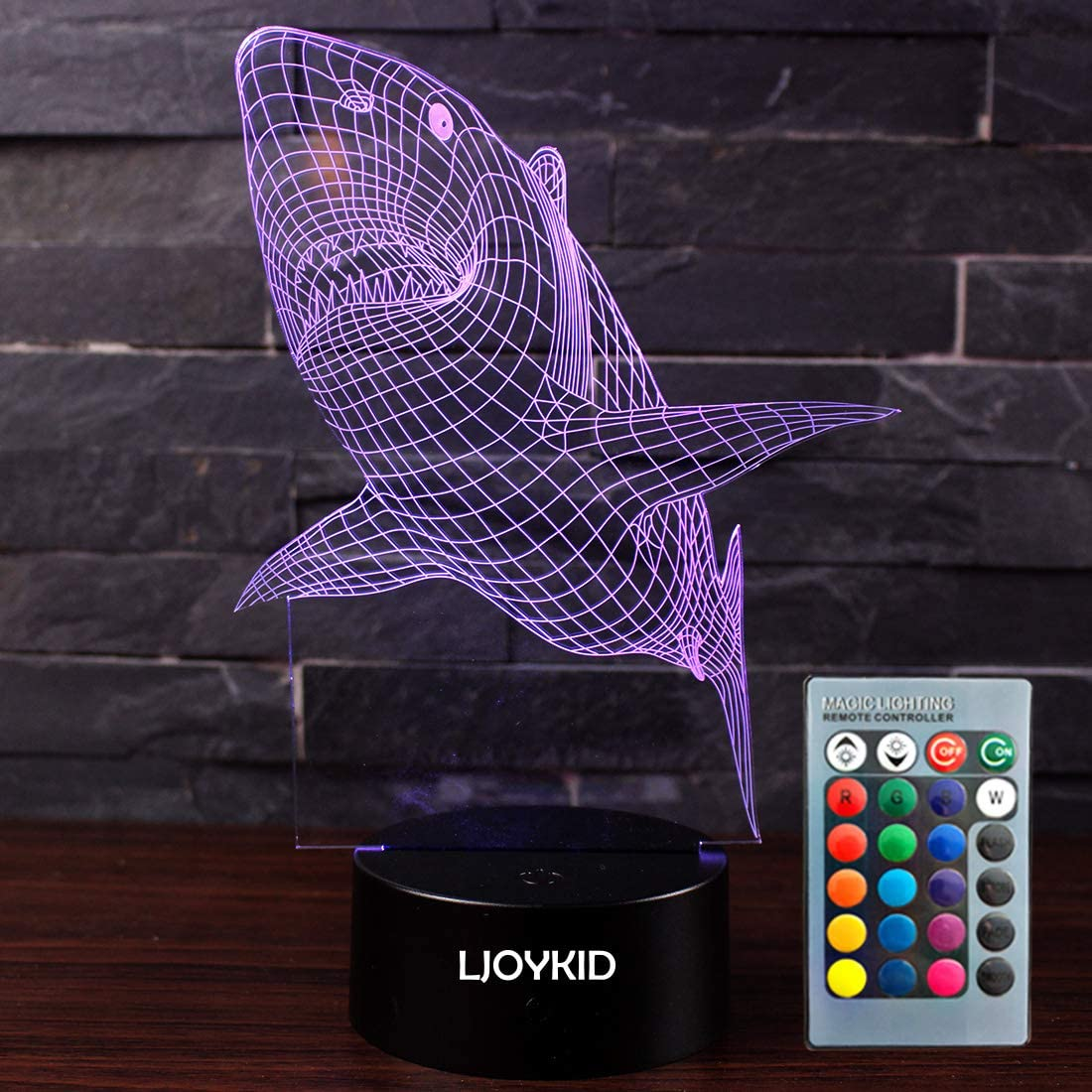 LJOYKID 3D Led Night Light Lamps - Optical Illusion 7 Colors Touch Table Desk Visual Lamp with Remote Control for Gifts for Children Kids (Shark)