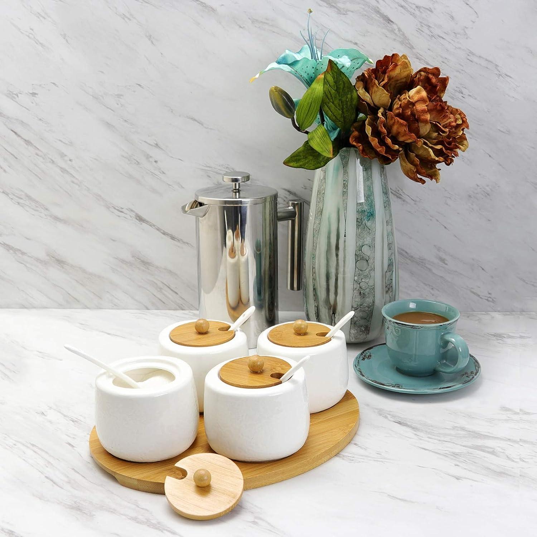 Sazonador de cer/ámica Tarro de vidrio Ceramic Cruet Jar Three-piece Bamboo and Wooden Shelf Salt Shaker Sugar Bowl Lid with Spoon Kitchen Storage-YS0399-1