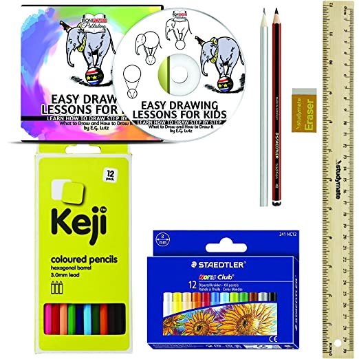 Aprender a dibujar Kit Set - fácil de extraer lecciones para niños, para aprender a dibujar paso a paso - por ejemplo Lutz - contiene CD Tutorial, ...