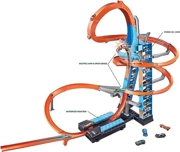 Hot Wheels Sky Crash Tower vehicle racetrack playset for kids