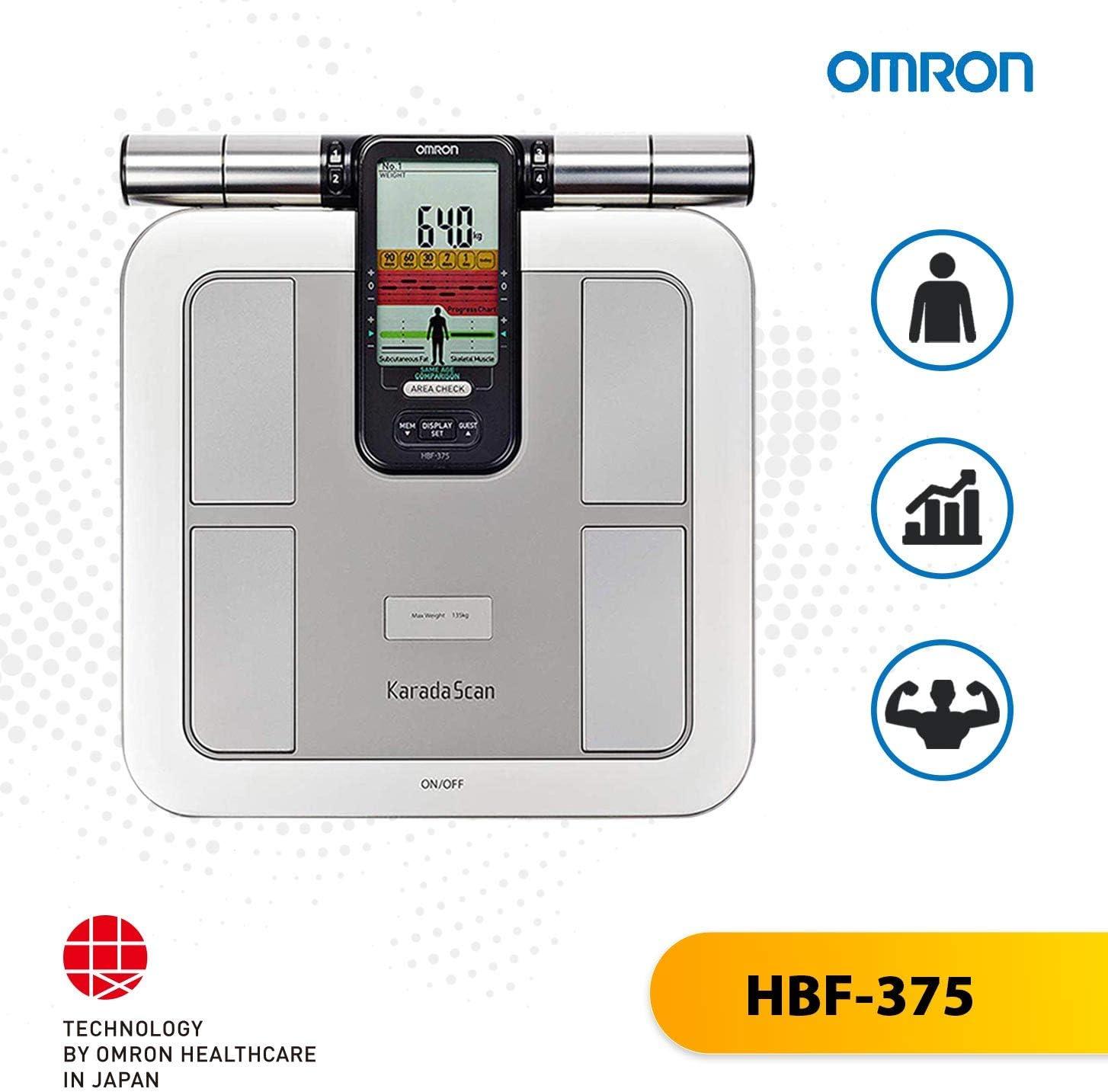 Omron HBF-375 Pèse-Personne électronique carré Gris