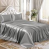 Homiest 4pcs Satin Sheets Set Luxury Silky Satin Bedding Set with Deep Pocket, 1 Fitted Sheet + 1 Flat Sheet + 2 Pillowcases