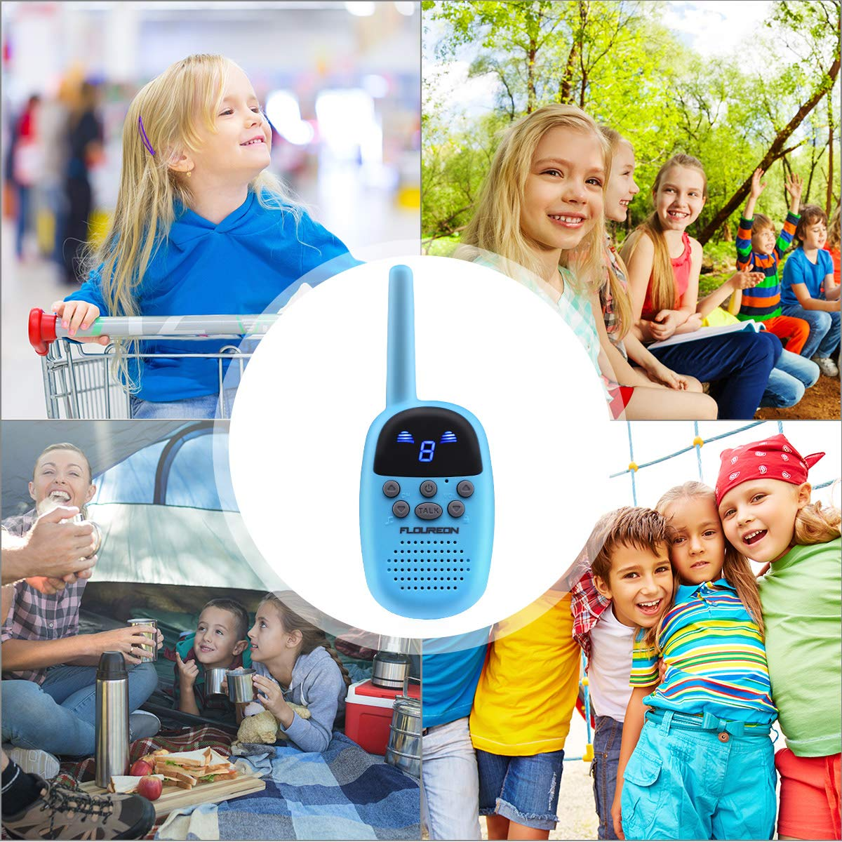 Spronto Kids Walkie Talkies 9 Channel Two Way Radio Twins Walkie Talkies FRS/GMRS Handheld Interphone Long Range for Trips Outdoor Activities (Blue) by Spronto (Image #7)