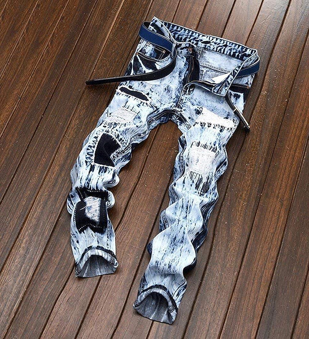 Hanglin Trade Mens Snow Wash Ripped Slim Jeans