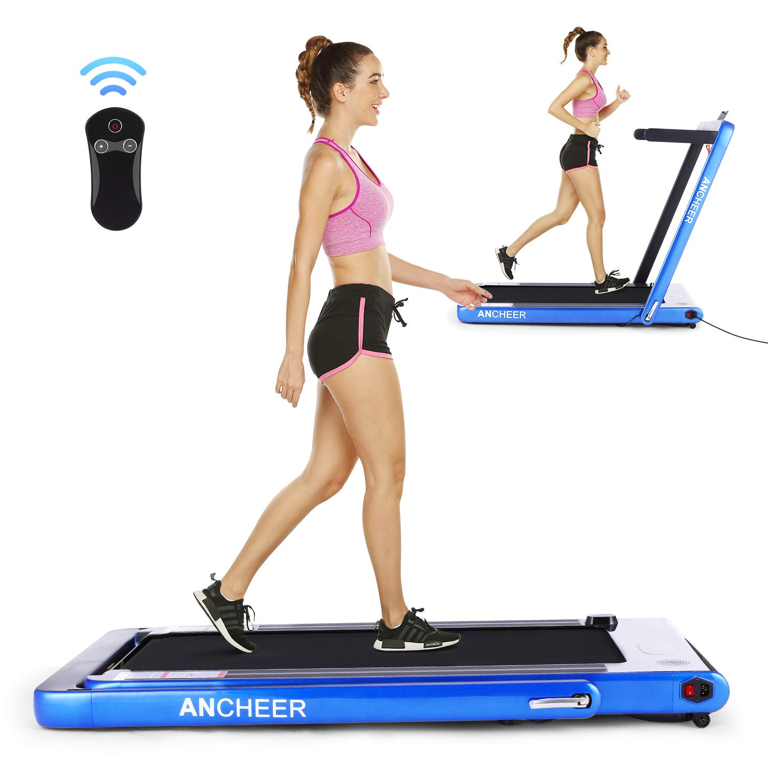 ANCHEER Folding Treadmill, Under Desk Smart Electric Treadmill with Remote Control and Bluetooth Speaker & LCD Monitor, 2 in 1 Walking Running Machine Trainer Equipment for Home Gym (Dark Blue) by ANCHEER