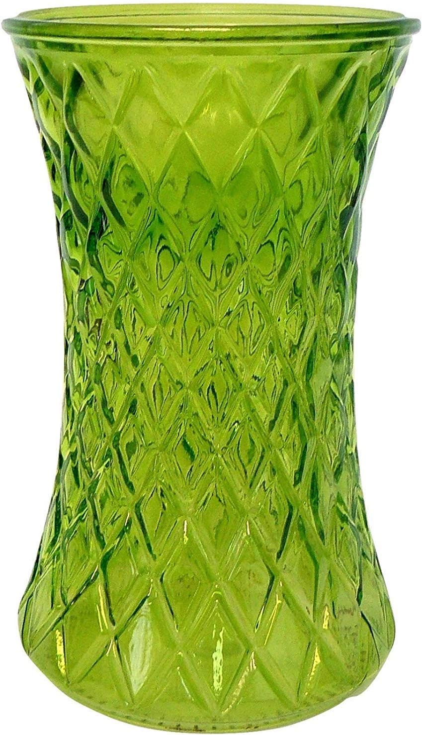 Green etched glass bud vase