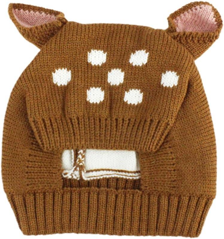 (プタス)Putars 子供用 帽子 ニット帽 鹿柄 鹿模様 耳付き 男の子 三色 耳保護 防寒 防風 暖かい 冬 可愛い 新生児 記念日 プレゼント