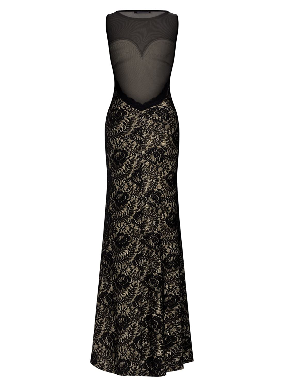Amazon.com: Missmay Womens Sexy Lace Mesh Split Side Long Prom Bridesmaid Party Bodycon Dress M Black: Clothing