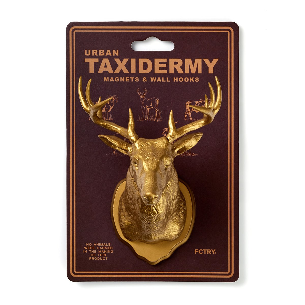 Urban Taxidermy Magnet and Wall Hook Deer - Gold