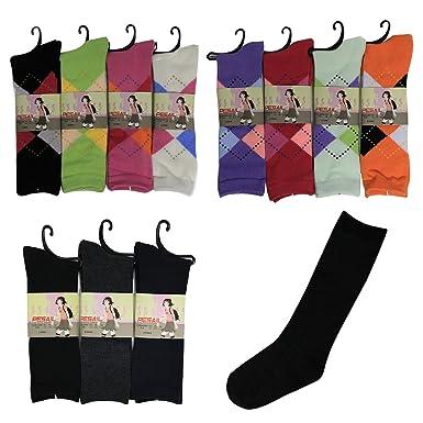 Pesail Chaussettes Hautes Pour Enfant Fille - Motif Carreaux - Classiques  Noir - Taille 19 - 36 (23-26 d940b23906a