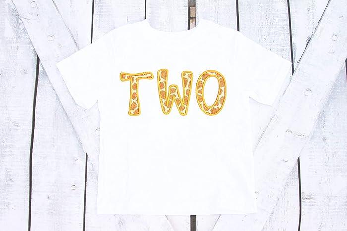 1f6570ff Amazon.com: Boy Second Birthday shirt giraffe themed zoo Personalized  second birthday shirt two year old: Handmade