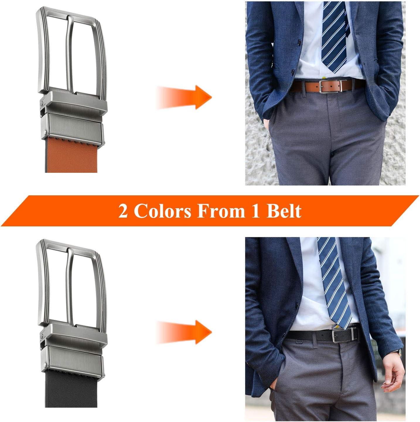 Mens Belt Adjustable Leather Reversible Belts Gift with Credit Card Holder Dress Belt Casual Business Jeans Belts for Men Brown Black