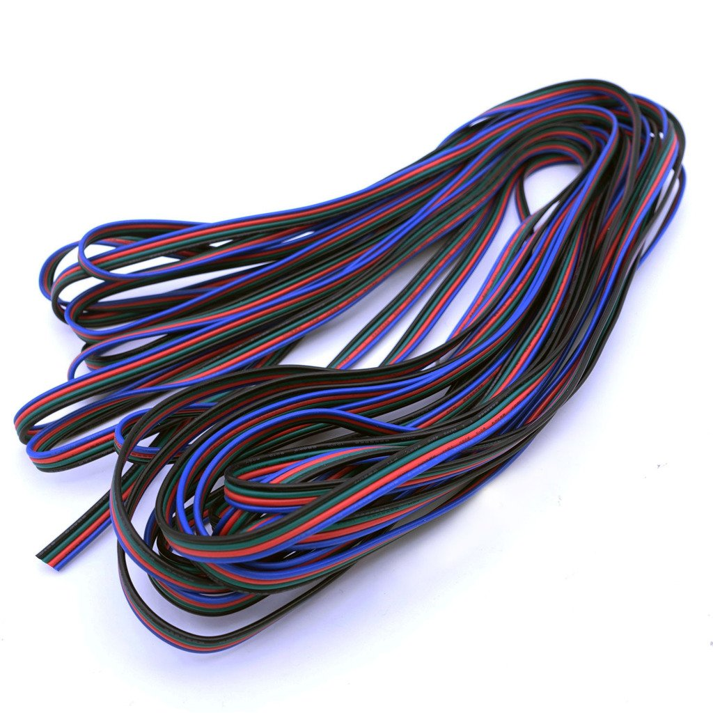 Trendbox - 50M 164FT 4Pin RGB Color Flexible Extension Cable Cord Wire Cord 22AWG Solderless For LED Strip Light 3528 5050