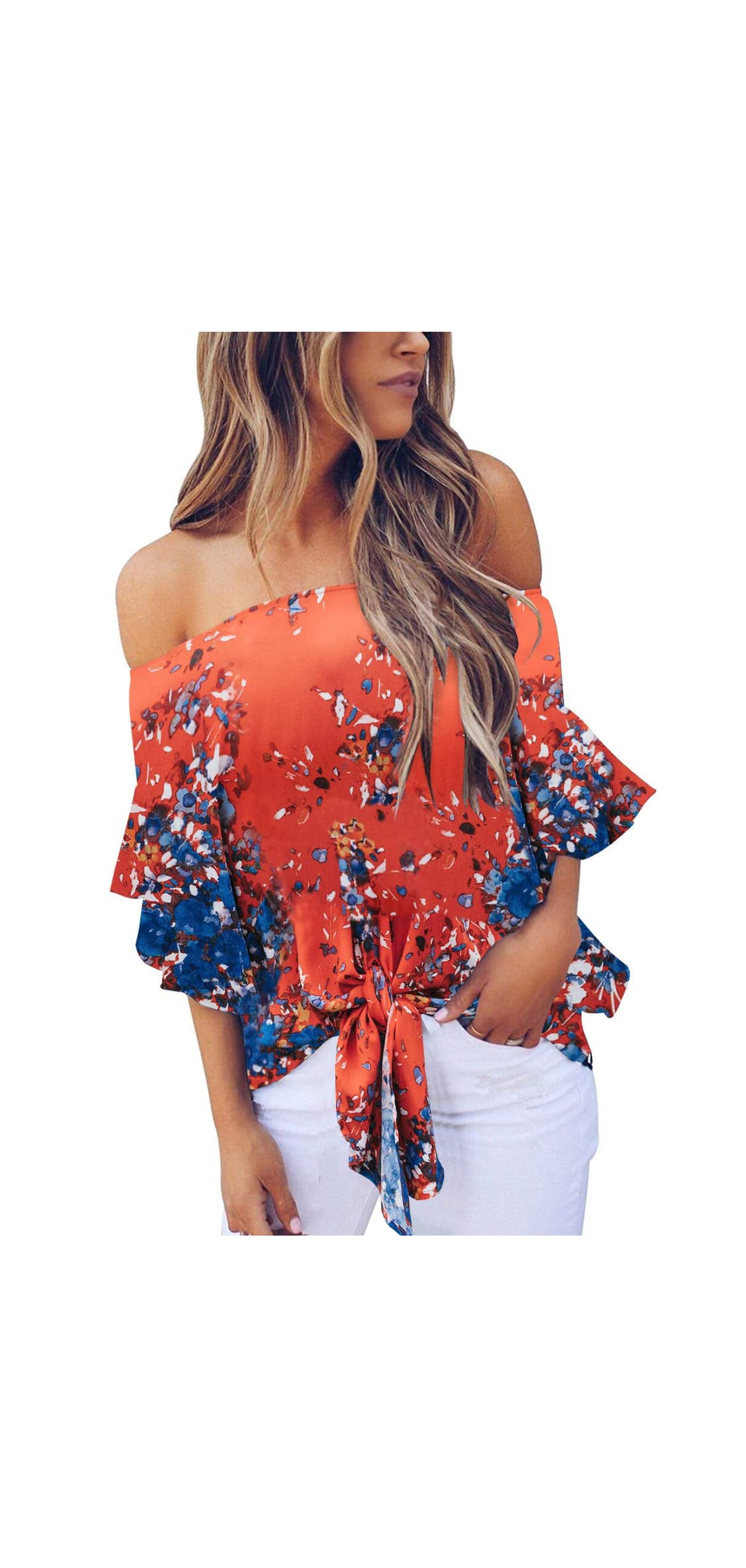 Womens Off The Shoulder Tops Foral Summer Bell Sleeve Tie Front