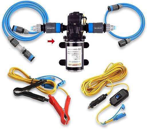 Bomba de agua de Camplux, bomba de alta presión con sistema de agua caliente a gas, de 6 litros por minuto, 12 V y 4,5 bar, ideal para caravanas, ...