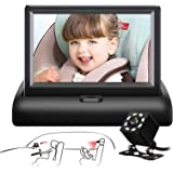 Baby Car Mirror SAMFIWI Car Seat Mirror Camera and Monitor with Infrared Night Vision Best Baby Monitor and Camera for Baby C