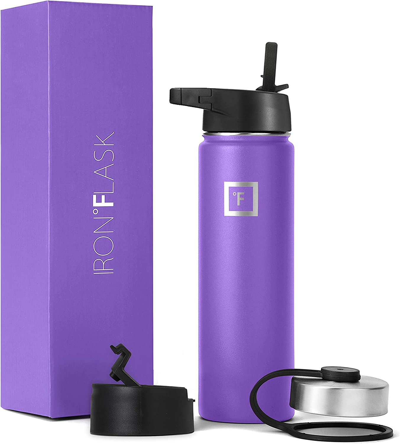 Iron Flask Sports Water Bottle - 22 Oz, 3 Lids (Straw Lid), Vacuum Insulated Stainless Steel, Hot Cold, Modern Double Walled, Simple Thermo Mug, Hydro Metal Canteen (Violet)