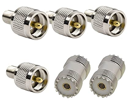 HIFROM UHF Male to F Female RF Coaxial Coax Adapter and PL-259 UHF Female