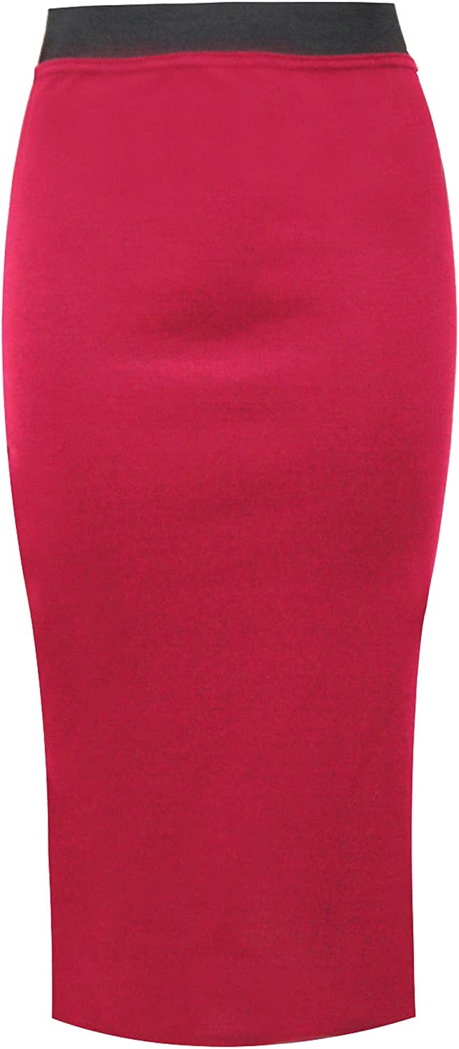 Miss Faceless Womens Pencil Stretch Tube Wiggle Ladies Contrast Elasticated Waistband Bodycon Plain Office Midi Skirt