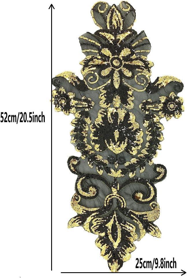 Designer Patch Embroidered DIY Jacket Shirt Handbag 9\u201d Large Sequin Man Patch Iron on Patch Red Sequin Patch,Man Patch Gold Sequin Patch