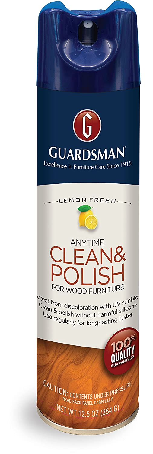 Guardsman Clean & Polish For Wood Furniture - Lemon Fresh - 12.5 oz - Silicone Free, UV Protection - 460300