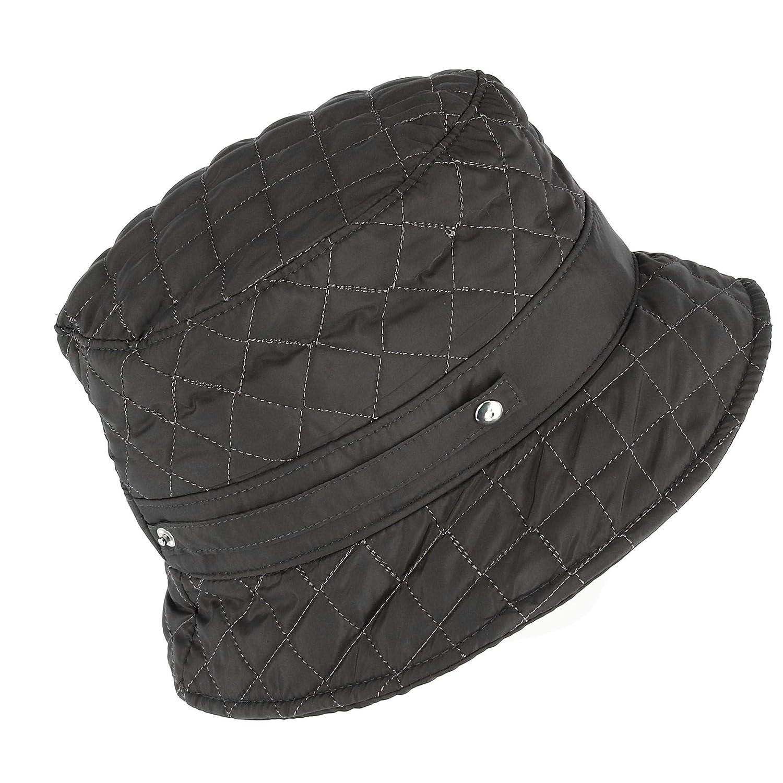 CTM® Women's Packable Quilted Rain Bucket Hat Grey DA-7043-GRY
