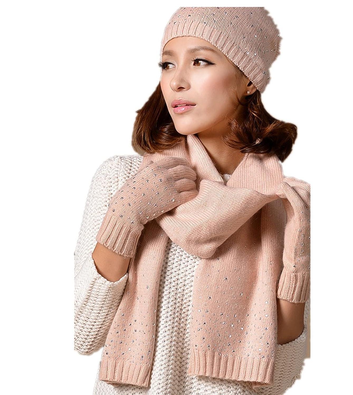 Female Winter-Wolle-Handschuhe M¨¹tze und Schal Dreiteilige von Withered eingestellt