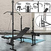Banc de Musculation - avec Extension Jambe, Butterfly, Curl Pupitre, Poulie et Support pour Haltères (Pliable & Réglable) - Station de Musculation, Fitness