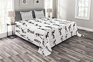Ambesonne Golf Bedspread, Golf Swing Shown in 14 Stages Sports Hobby Themed Sketch Art Storyboard Print, Decorative Quilted 3 Piece Coverlet Set with 2 Pillow Shams, Queen Size, White Black
