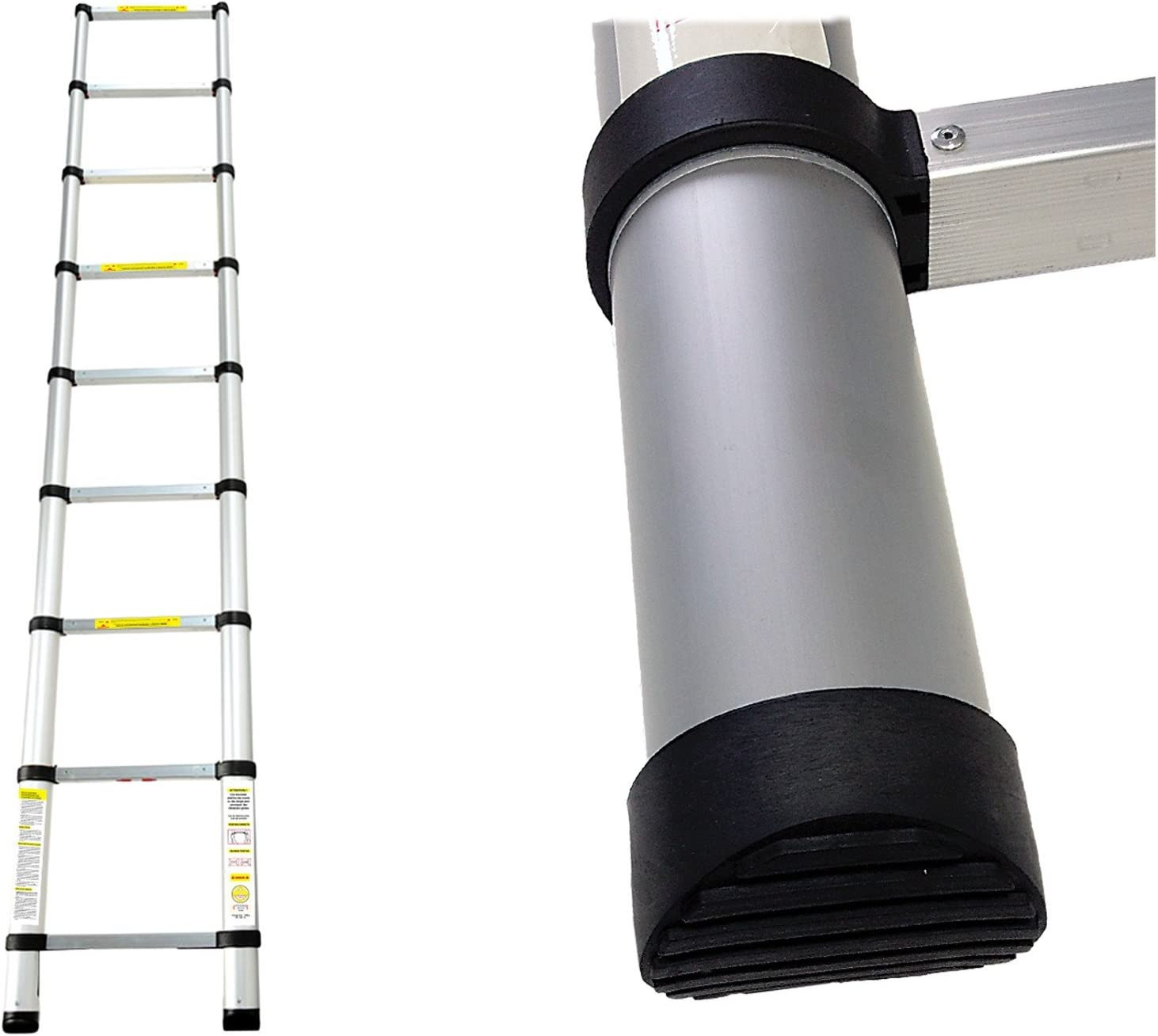 Leogreen Carico massimo: 150 kg Borsa per trasporto GRATIS EN 131 scala installata 4,1 Metri : 30 cm Scala Telescopica Scaletta Allungabile Distanza tra i gradini