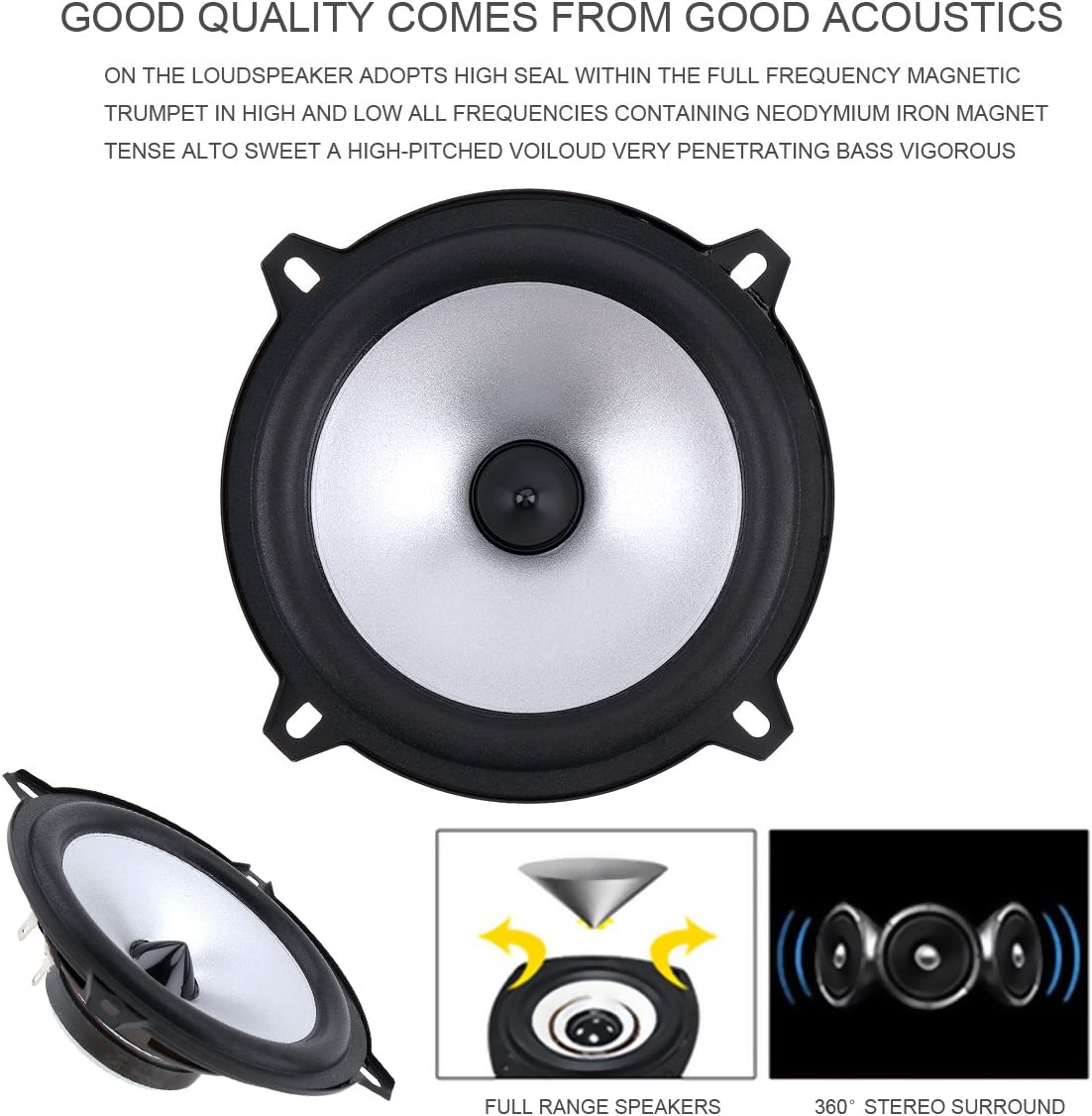 2pcs 4 Inch 60W 2 Way Car Coaxial Vehicle Door Auto Audio Music Stereo Full Range Frequency HiFi Speakers