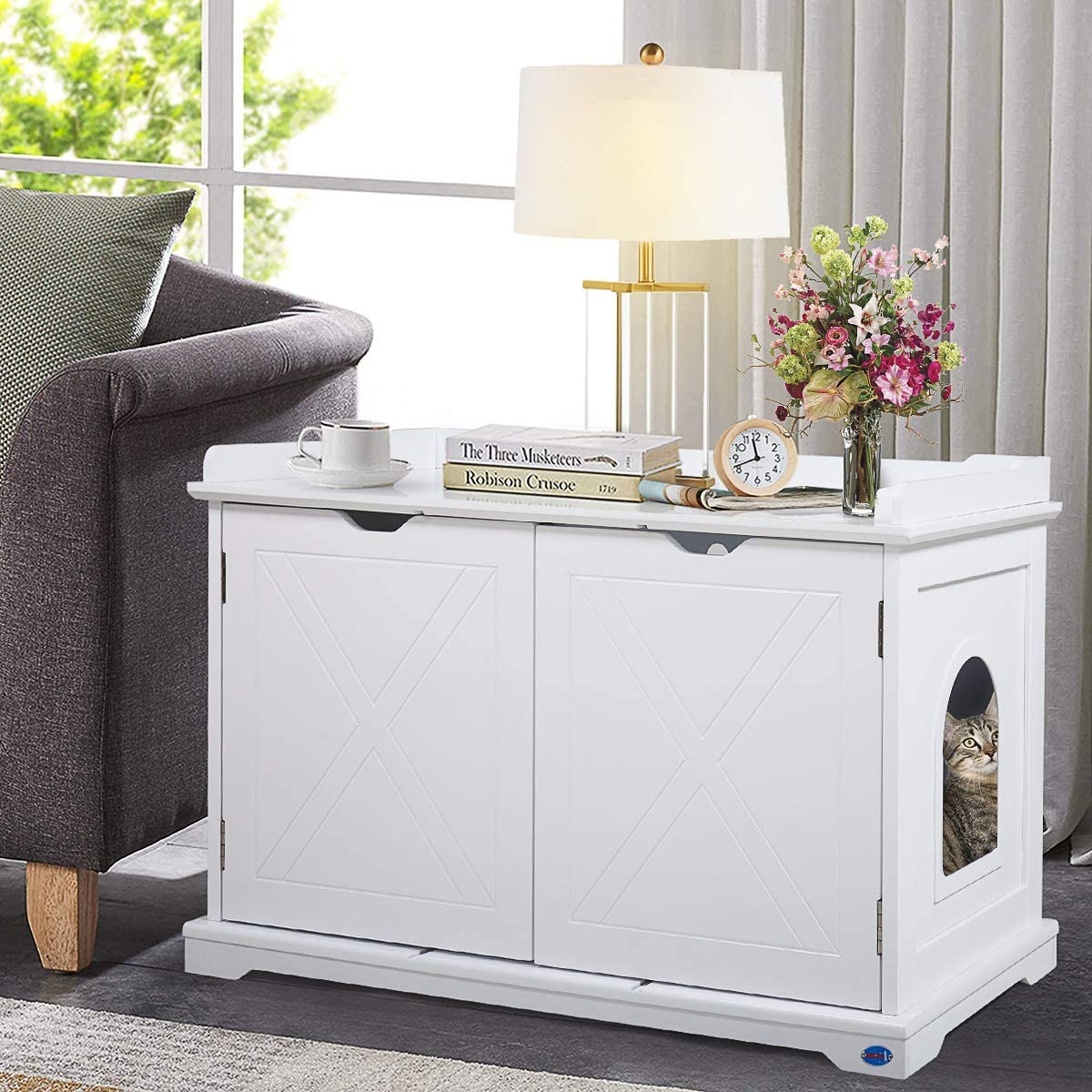Easy Assembly Magnetized Double Doors End Table Litter Box Furniture COZIWOW Designer Cat Washroom Storage Bench Cabinet Spacious Inner with Removable Panel