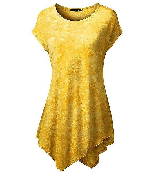 Minetom Mujer Casual Vestido Irregular Dobladillo Moda Tapas Blusa Muchos Colores Amarillo 34