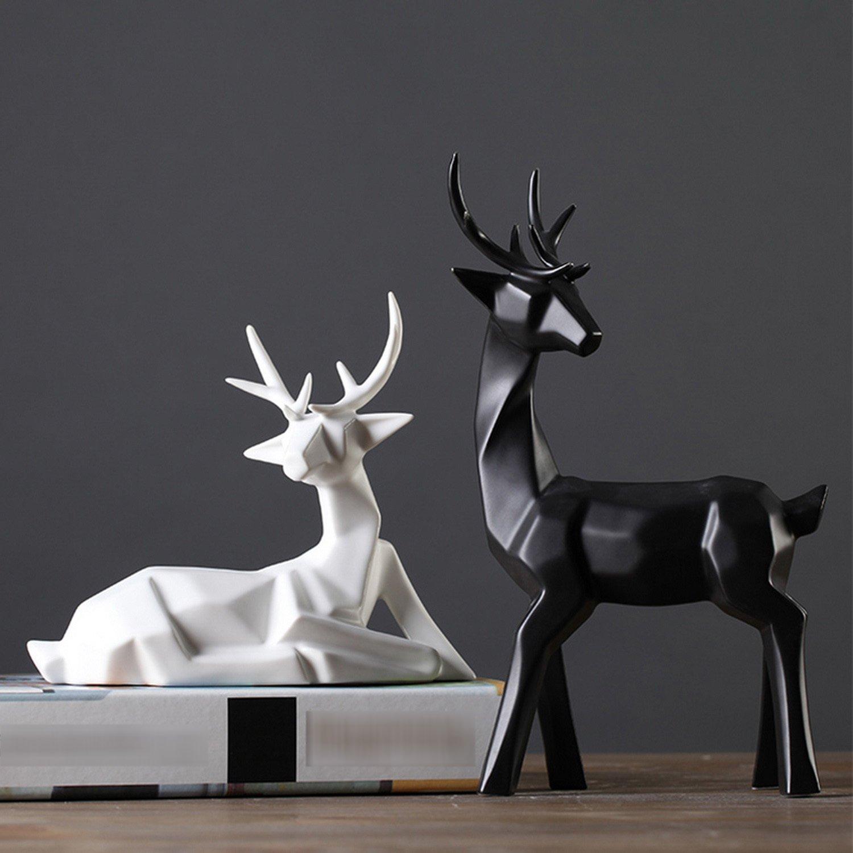 Dekofiguren Dekofiguren Dekofiguren im Origami-Design Skulptur Statue aus Porzellan Hirsche 2-er Modell 208 B0721C584R Figuren 61efef