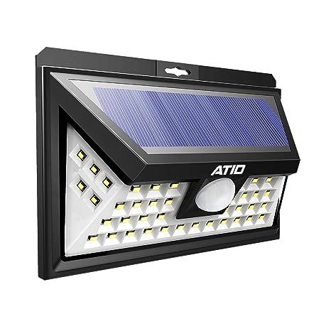 ATID - Focos Solares Exteriores de 46 LED para Jardin Con Sensor de Movimiento.