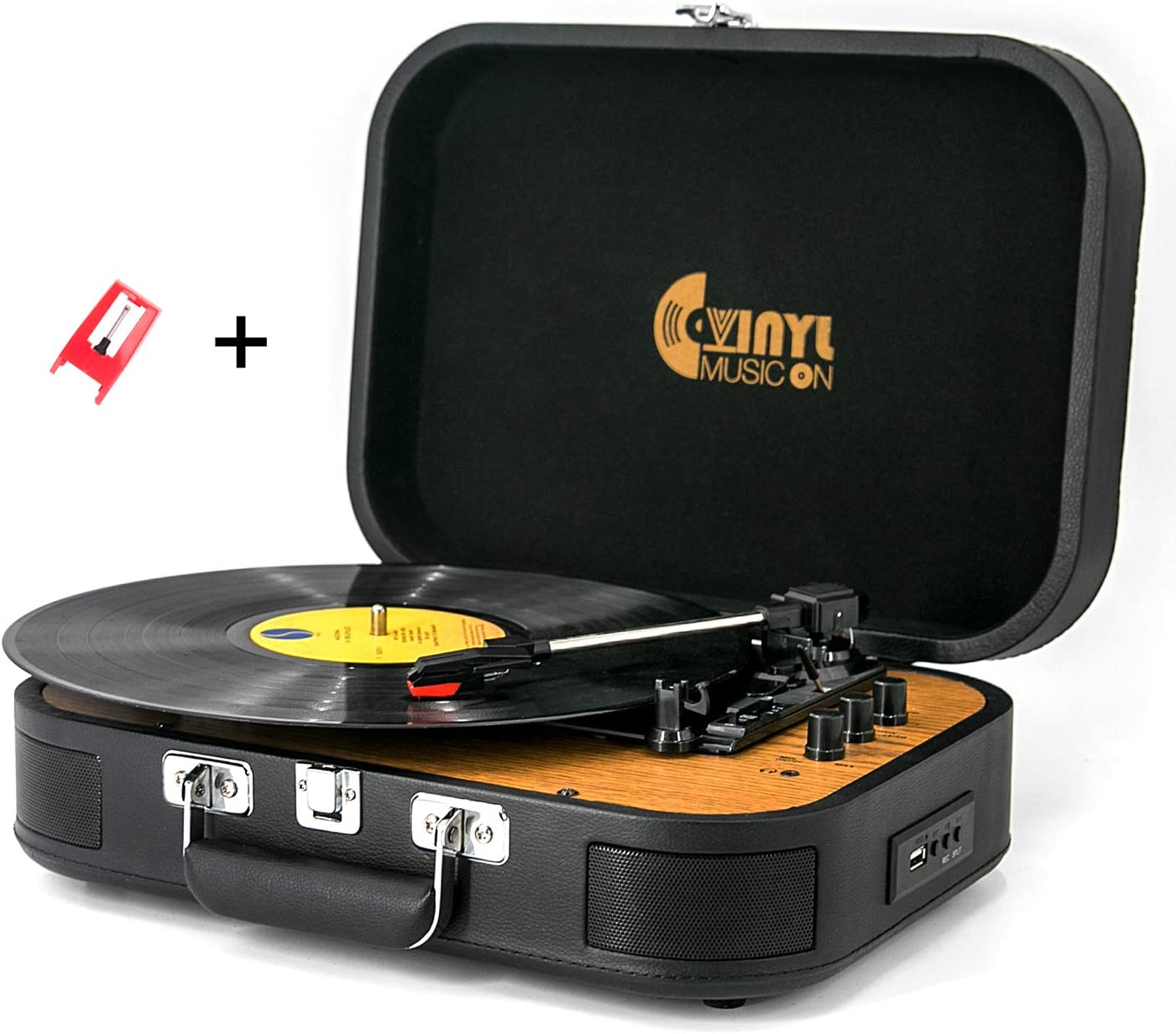 USB Bluetooth Record Player with Stereo Speakers,3 Speed Briefcase Turntable with USB Play&Encoding, Pitch Control and RCA Output&Aux Input,Black